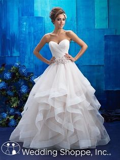 Allure  Bridal Gown 9408, $1348, Organza, A Line Ball Gown, Rush??