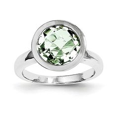 Sterling Silver Rhodium Plated Green Quartz Ring Gem Wt 3ct -- You can find more details by visiting the image link.(This is an Amazon affiliate link and I receive a commission for the sales)