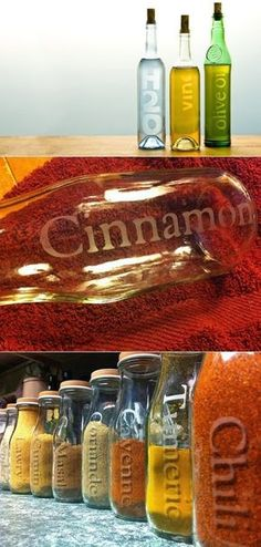 How to Etch Glass Bottles DIY - great idea for organizing my kitchen or as a gift!