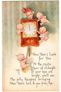 quenalbertini: Vintage New Year Card - Kewpies, Rose O'Neill Art Vintage Greeting Cards, Vintage Christmas Cards, Christmas Images, Vintage Ephemera, Vintage Holiday, Christmas Art, Retro Christmas, Vintage Happy New Year, Happy New Year Cards