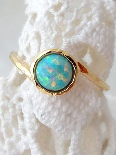 Mint Opal ring | Gemstone ring | Gold opal ring | Silver opal ring by EldorTinaJewelry | http://etsy.me/1I8VFNP