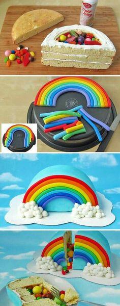 How to Make Rainbow Pinata Cake - Cooking - Handimania Bolo Pinata, Pinata Cake, Rainbow Pinata, Rainbow Birthday Party, Cake Rainbow, Rainbow Frosting, Rainbow Treats, Birthday Parties, Birthday Treats