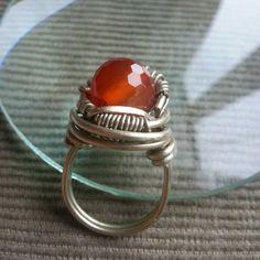 ring #WireGalaxy #wire #wrapped #jewerly #Carnelian #wirewrap #red #wirewrap #wirework #workshop  #fantasy #ring