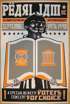 "Pearl Jam w/ Hovercraft - silkscreen concert poster (click image for more detail) Artist: Ames Design Venue: Constitution Hall Location: Washington, DC Concert Date: 9/19/1998 Size: 15 1/4"" x 22 1/4"""