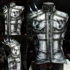 Bleached Bones by SceneSick Airbrushed White Hand Painted Spikes Post Apocalyptic Cyberpunk Cybergoth Stage Wear Club Metal Unisex OOAK Vest Art Cyberpunk, Cyberpunk Tattoo, Cyberpunk 2020, Cyberpunk Fashion, Spiked Leather Jacket, Tactical Clothing, Male Clothing, Clothing Ideas, Heavy Metal Fashion