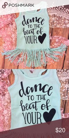 Toddler Girl Shabby Tank Style Fringe Dress Adorable shabby tank style mint green fringe dress. Trendy design on front. Dance to the beat of your ❤️. Dresses Casual
