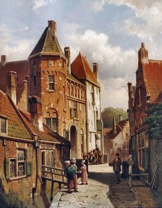 Urban Landscape, Landscape Art, Landscape Paintings, Imagen Natural, Carl Spitzweg, La Haye, Perspective Art, City Painting, Medieval Life