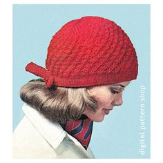 1970s Vintage Bow Tie Knit Cap Pattern: Snug knitted cap from 1971 is made in an interesting pattern stitch with a stockinette headband tying