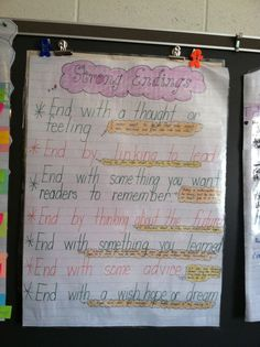Strong endings anchor chart.