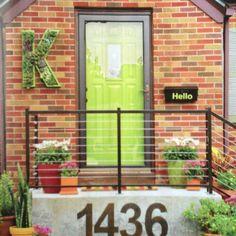 Front door entry idea. Fill glass door plus colorful interior door. (I'd pick red tho')