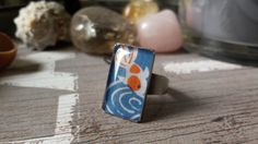 Rectangle ring japanese kimono style with koi fish by HappyBubblee Light Blue Background, Kimono Style, Japanese Kimono, Kimono Fashion, Koi, Fish, Jewellery, Rings, Jewels