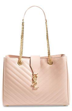 Oh, so pretty   Pale blush Saint Laurent leather tote. Diese und weitere Taschen auf www.designertaschen-shops.de entdecken