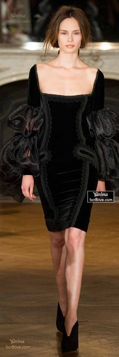 Velvet Touch! Designer Black Dress LBD Fashion Trends Runway Style Yanina Fall 2014-15 Haute Couture