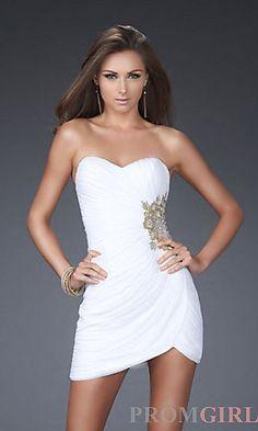 Strapless Mini Prom Dress by La Femme at PromGirl.com