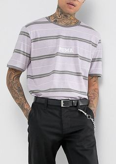 Puma Retro Stripe T-Shirt In Purple Exclusive to ASOS from ASOS (men, style, fashion, clothing, shopping, recommendations, stylish, menswear, male, streetstyle, inspo, outfit, fall, winter, spring, summer, personal)