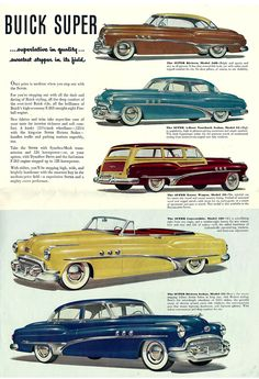 Ad for the 1951 Buick lineup of cars. Auto Retro, Retro Cars, Vintage Advertisements, Vintage Ads, Vintage Trucks, Automobile, Buick Cars, Car Illustration, Car Advertising