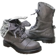 Dr. Martens Women's Aimilie Pewter Metallic Suede Casual Boot ($120) ❤ liked on Polyvore featuring shoes, boots, pewter, low heel boots, plaid boots, suede leather boots, short heel boots and fold-over boots
