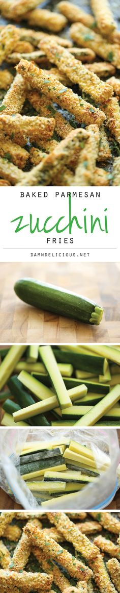 Baked Zucchini Fries ~ amazingly crisp-tender and healthy...no one would ever believe that these are baked! | damndelicious.net