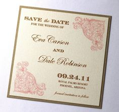 Eva Vintage Wedding Save the Date - Sample - Vintage Style - Ecru, Creme, Pink, Gold. $3.00, via Etsy.