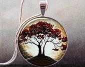 Moonlight and Oak Tree pendant, resin pendant  tree necklace charm, tree jewelry, nature lover