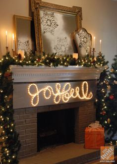 A Classic Christmas Mantel: DIY Rope Light Holiday Message