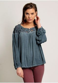 61b0719be67 Blue pleated loose-fit top with round neckline