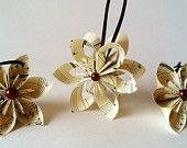 Sheet Music Christmas Ornaments- set of 3, falling star, paper flowers, one of a kind origami, gift, holiday decoration