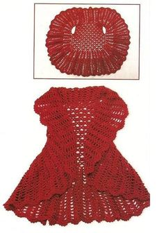 Patrones+de+Tejido+Gratis+-+Chaleco+circular (free pattern for circular crocheted vest--instruction not English, but there are diagrams)these 12 crochet circular vest jacket patterns that are all inspired of bohemian fashion! These free crochet patte Crochet Bolero, Gilet Crochet, Crochet Jacket, Crochet Cardigan, Knit Or Crochet, Crochet Scarves, Crochet Clothes, Crochet Baby, Crochet Shrugs