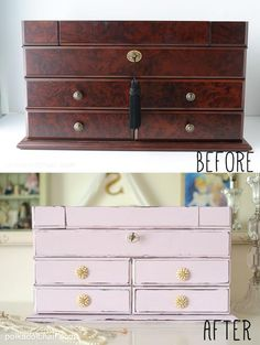 Diy Jewelry Box Makeover Using Chalky Finish Paint On Polka Dot Chair