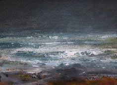 Kristan Baggaley Boscastle Increasing Wind. Watercolour