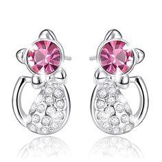 Childrens rosa de cristal de plata esterlina Flamingo Aretes Macaroon Caja De Regalo