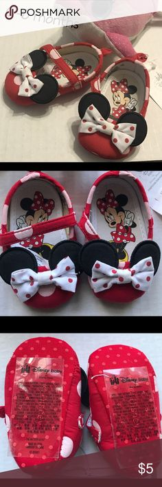 Disney Store Minnie Mouse Red Polka Dot Shoes These cute shoes features the classic Minnie Mouse ears and bow details with Velcro straps. NWT Disney Shoes Baby & Walker