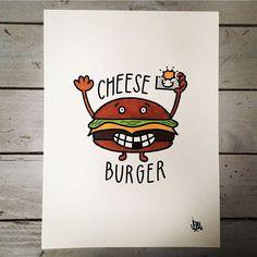 Say cheeeeese burger #jozu #jozumoore #cheeseburger #photo #photographer #art #drawing #illustration #lowbrowart