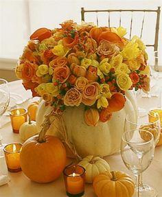 Romantic DIY Thanksgiving Flower Decor Inspiration with pumpkin creation