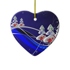 Abstract Berry Frosted Hart Ornament