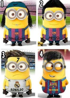 Cute minions of soccer players Ronaldihno, Messi, Neymar, Ronaldo Soccer Stars, Football Soccer, Football Things, Good Soccer Players, Football Players, Fc Barcelona, Soccer Player Hairstyles, Messi And Neymar, Lionel Messi