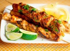 This is a healthier and lighter version of grilled kabobs made with yogurt, garlic, lemon juice, olive oil and herb seasoning. These tender and moist chicken kabobs are extra special when served with garlic dipping sauce.