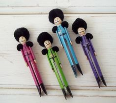 Clothespin Dolls Toy Soldiers in Purple Aqua by SockMonkeyBizz Popsicle Stick Crafts, Craft Stick Crafts, Crafts To Do, Popsicle Sticks, Diy Christmas Ornaments, Christmas Projects, Holiday Crafts, Christmas Art, Clothespin Art