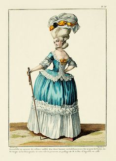 Young lady in a taffeta caraco, coiffed in a demi-cap; this dress derives from Nantes, in Brittany, where the Bourgesoises of the town wore it to the passage of M. the Duke d'Aiguillon in Rococo Fashion, French Fashion, Victorian Fashion, Vintage Fashion, Fashion Goth, Ladies Fashion, Victorian Women, 18th Century Dress, 18th Century Clothing