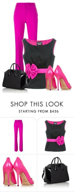 """""""Untitled #12143"""" by nanette-253 ❤ liked on Polyvore featuring Boutique Moschino, Jimmy Choo and Givenchy"""
