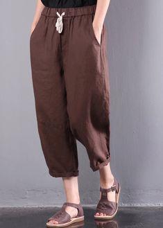 new brown loose linen pants plus size elastic waist crop pants Linen Pants Women, Linen Trousers, Short Summer Dresses, Short Sleeve Dresses, Loose Dresses, Long Sleeve, Capsule Outfits, Capsule Clothing, Clothing Basics