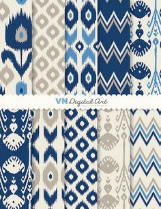 Digitales Papier Ikat Digital Scrapbook Papier 8.5 von VNdigitalart