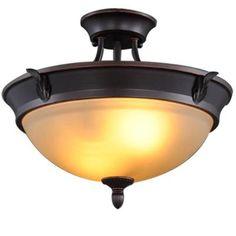 Hampton Bay 2-Light Bronze Semi-Flush Mount Light-S351JU02 - The Home Depot