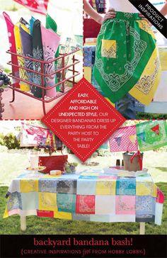 HobbyLobby Projects - Backyard Bandana Bash Bandanas remind me to make time to be carefree! Fabric Crafts, Sewing Crafts, Sewing Projects, Craft Projects, Fun Crafts, Diy And Crafts, Arts And Crafts, Bandana Quilt, Bandana Crafts