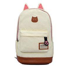 88197429e53 Canvas Backpack For Women Girls Satchel School Bags Cute Rucksack School  Backpack children Cat Ear Cartoon