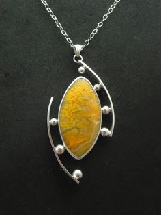 """Aspire"" - Sterling & Fine Silver, Bumble Bee Jasper, spheres of Fine Silver."