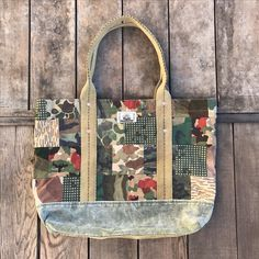 #Jyumoku custom patched camo square #tote made with #repurposed vintage camos and military canvas #remade #simplereborn #califusa #oneofakind