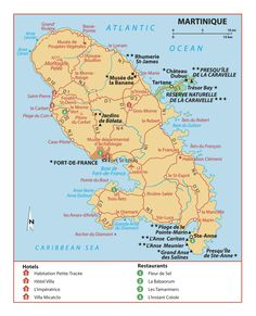 Map of Martinique #Travel #LikeALocal - Martinique in the Caribbean, overseas region of France and part of the French Republic.