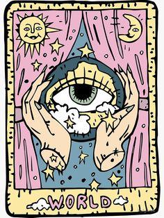 'Tarot World' Sticker by holykrak Pintura Hippie, Celtic Cross Tarot, Art Hippie, Arte Peculiar, Tarot Card Spreads, Small Canvas Art, Card Drawing, Tarot Learning, Tarot Card Meanings