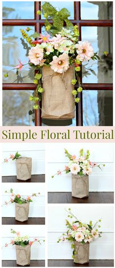 Style And Design Your Individual Enterprise Playing Cards In The Home Simple Floral Video Tutorial - How To Make Your Own Burlap And Floral Door Decor Burlap Projects, Burlap Crafts, Diy Craft Projects, Craft Ideas, Diy Wreath, Wreaths, Front Door Decor, Summer Wreath, Home Crafts